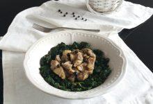 Bocconcini di maiale marinati al ginepro e pepe nero con bietola in padella