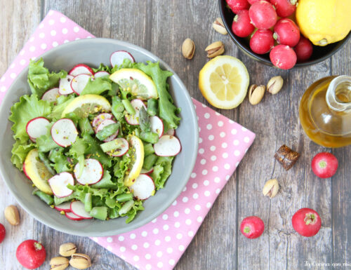 Insalata con ravanelli  asparagi e pistacchi