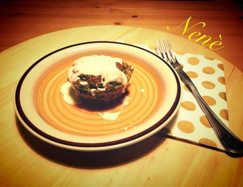 Flan di spinaci con fonduta di formaggi
