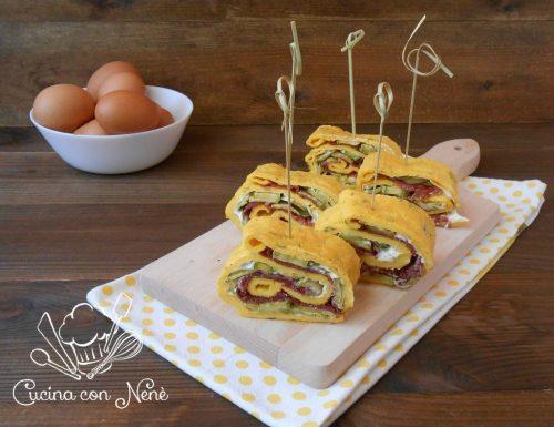 Rotolo di frittata farcita con bresaola, zucchine e formaggio