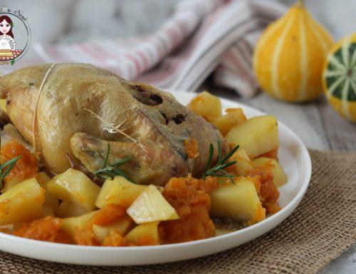 Pollo arrosto con zucca e patate