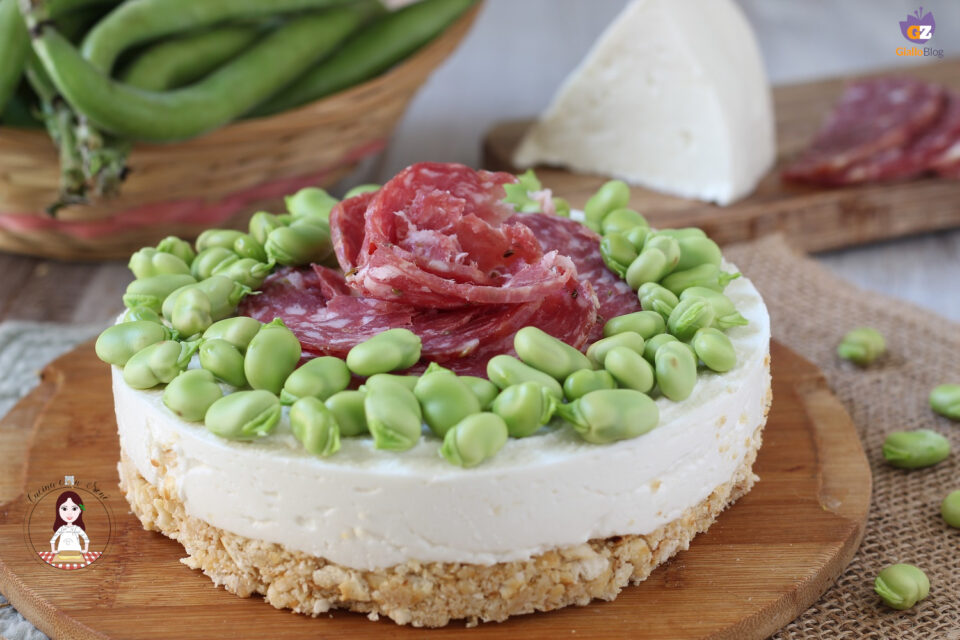 Cheesecake salata fave sardo e salame