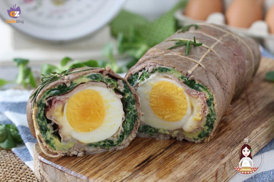 Rotolo di manzo con frittata e uova sode