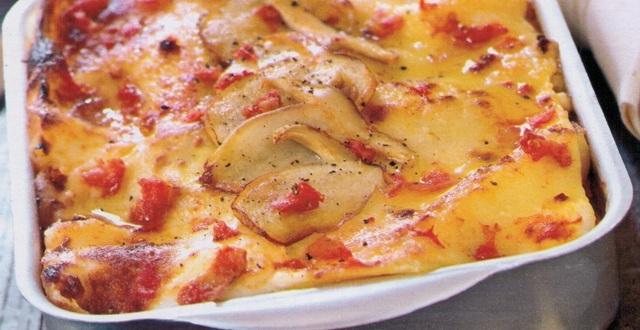 Lasagne vegetariane melanzane grigliate funghi porcini