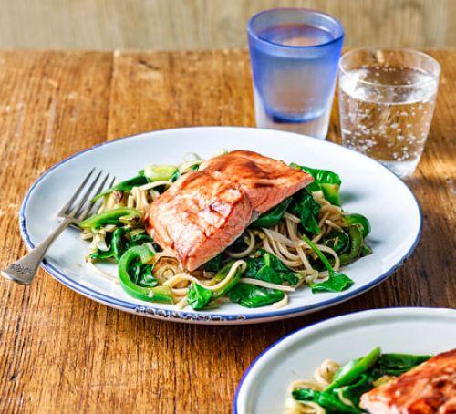 Miso salmon with ginger noodles | Cucina con Nonna Ariella