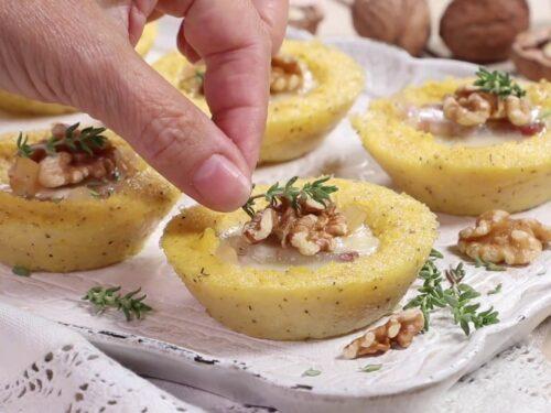 Antipasti autunnali Cestini di polenta con crema di gorgonzola
