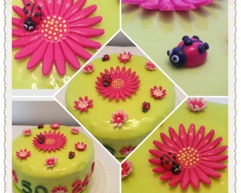 Cake design: torta con margherite e coccinelle