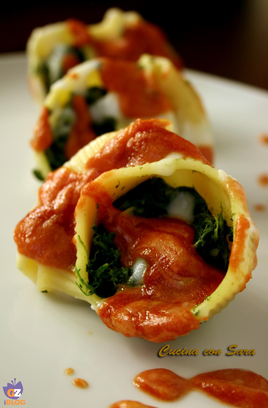 Conchiglioni ripieni ricotta e spinaci cucina con sara - Cucina con sara ...
