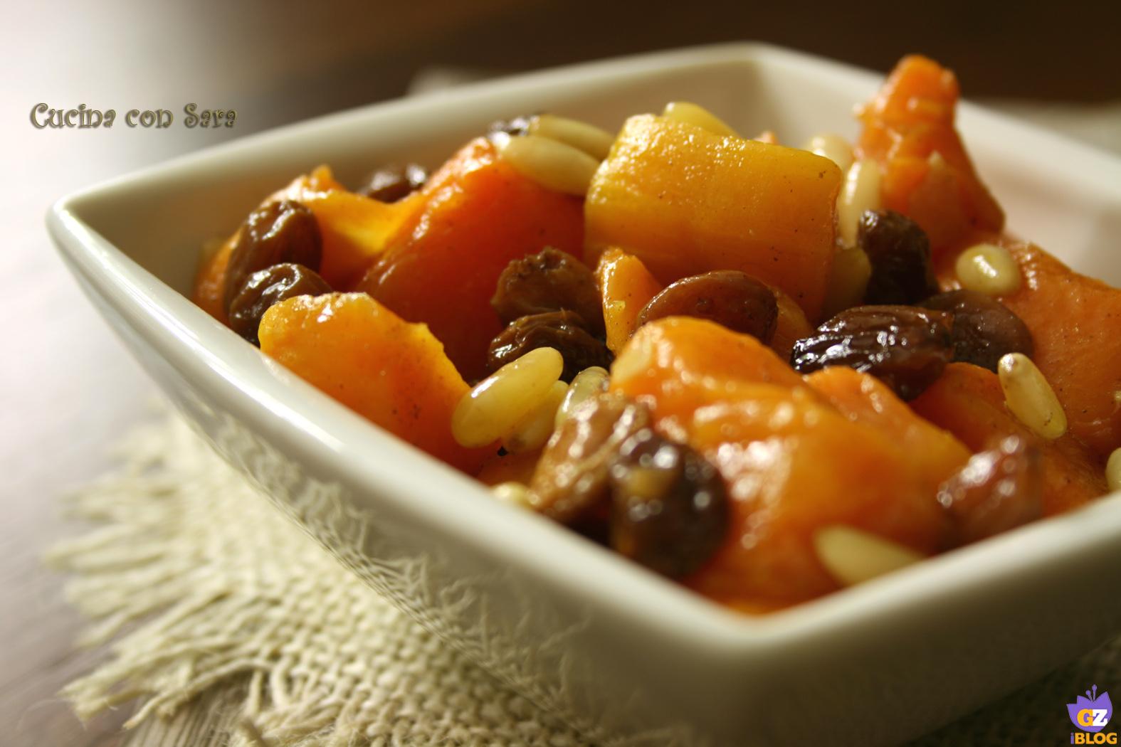 Ricetta zucca con pinoli e uvetta, cucina con sara