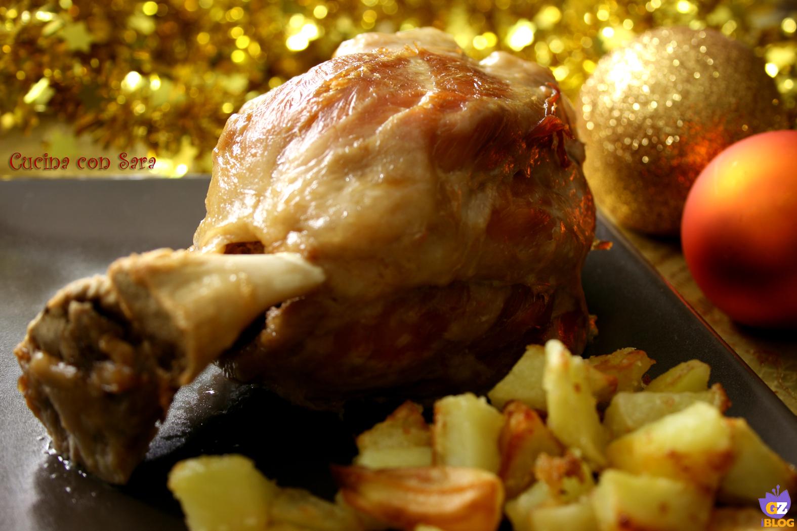 Stinco di prosciutto con patate al forno, cucina con sara