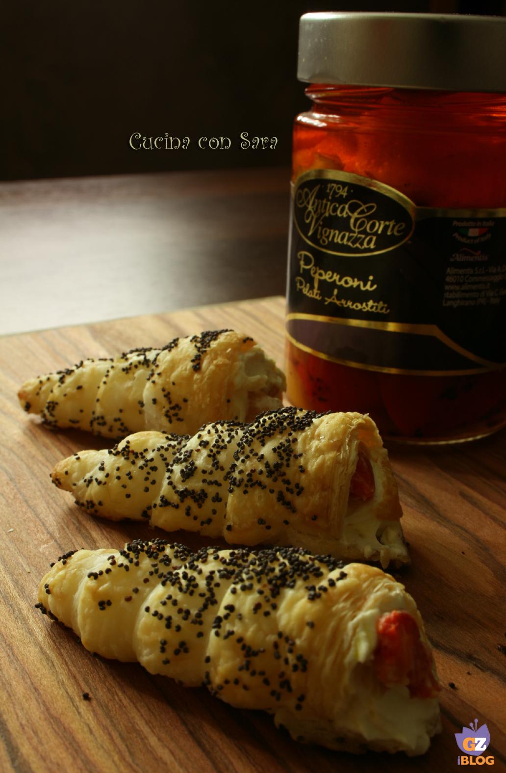 Cannoncini salati ricotta e peperoni, cucina con sara