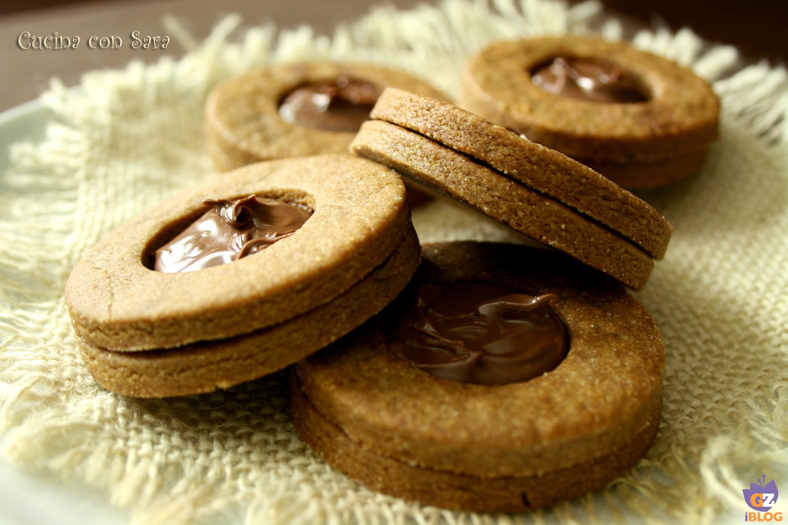 Biscotti occhi di bue caffè e nutella, cucina con sara