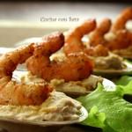 Hummus di borlotti con gamberi piccanti, cucina con sara