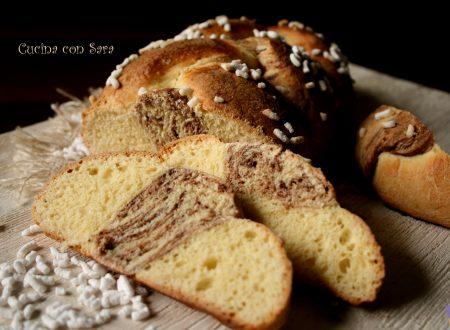 Treccia di pan brioche bicolore