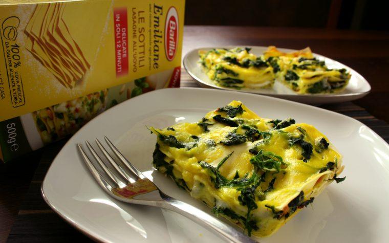 Lasagne spinaci, gorgonzola e zafferano