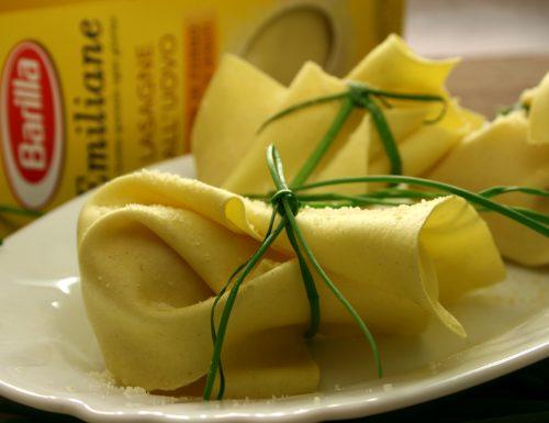Fagottini di lasagne zucchine e stracchino