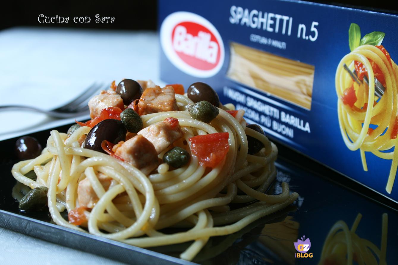 Spaghetti spada olive e capperi