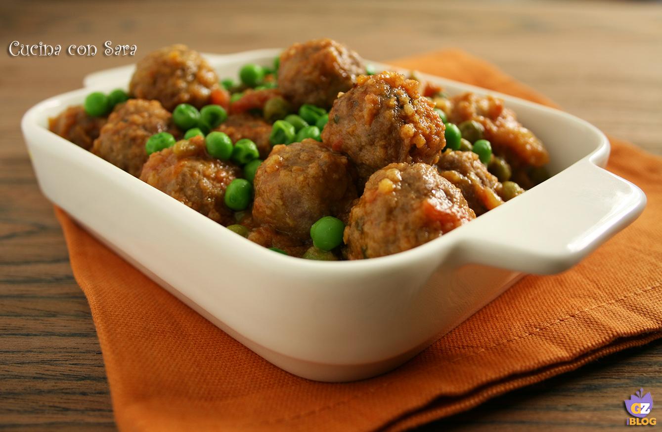 Ricetta polpette e piselli in umido, cucina con sara