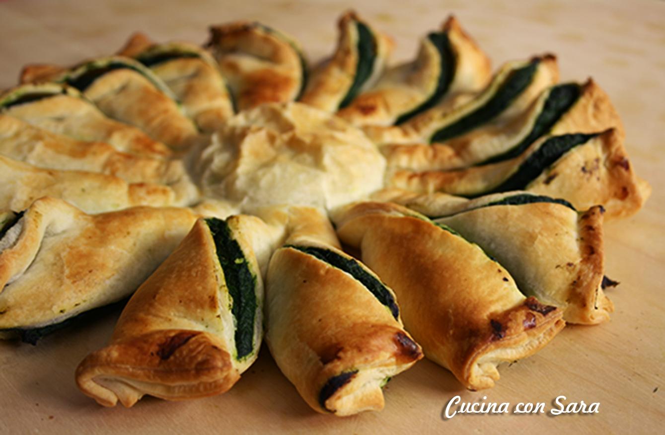 Girasole di pasta sfoglia con ricotta e spinaci