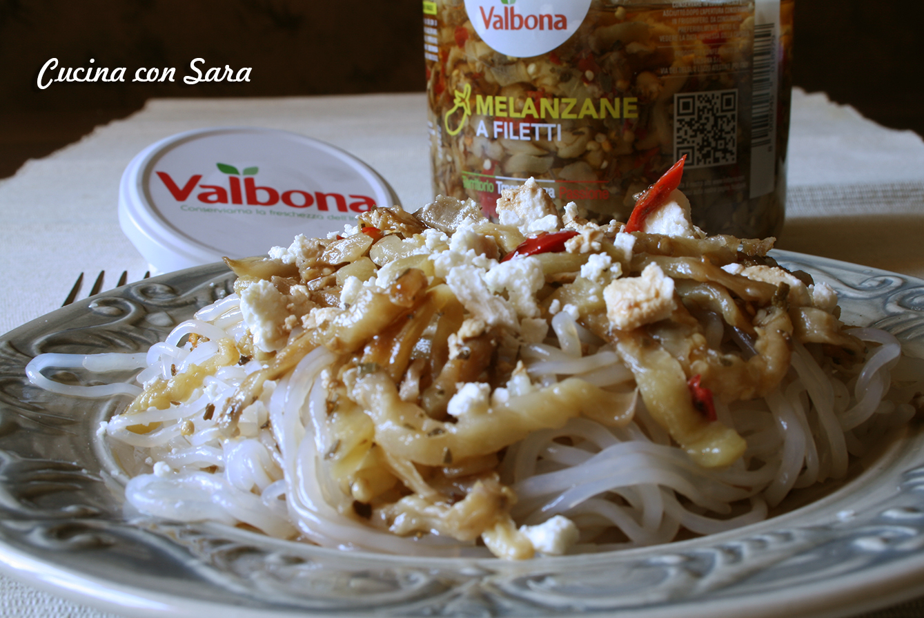 Ricetta shirataki con melanzane a filetti e ricotta