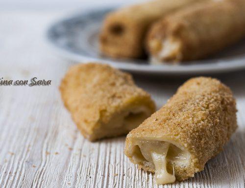 Rotolini di pan carre' fritti, ripieno filante