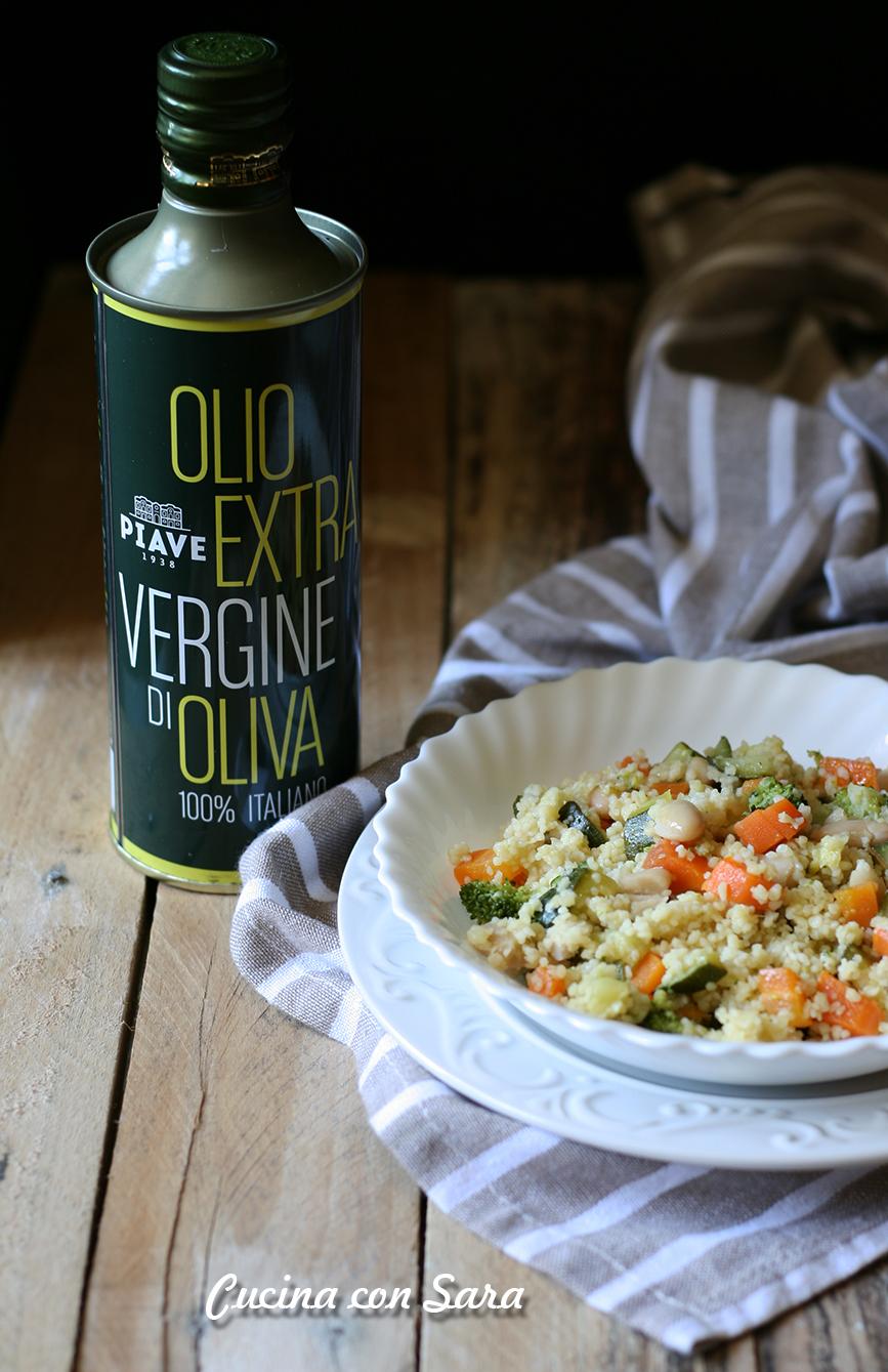 Cous cous freddo con verdure e cannellini, olio piave benessere