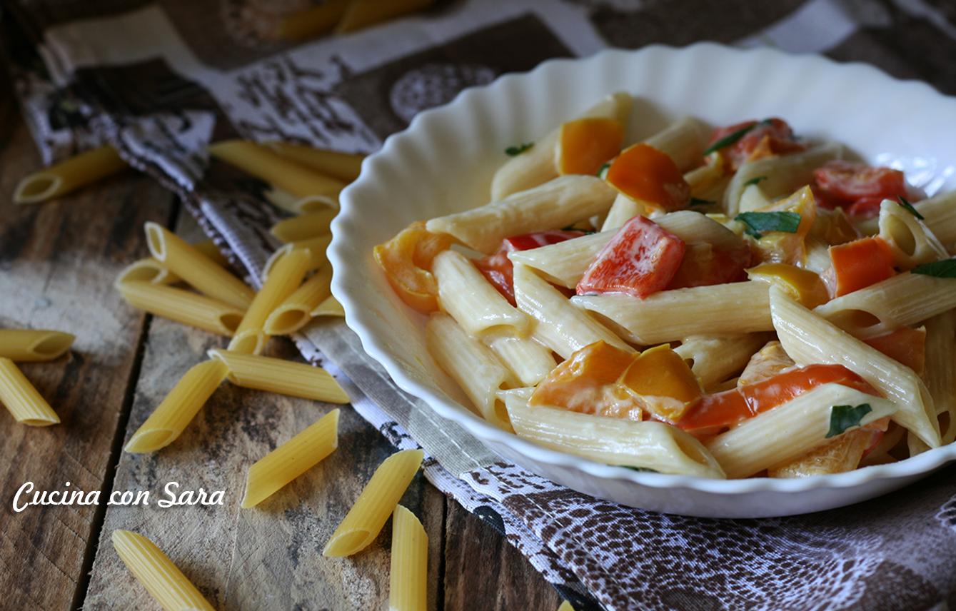 Ricetta pasta peperoni e crema di formaggio, cucina con sara
