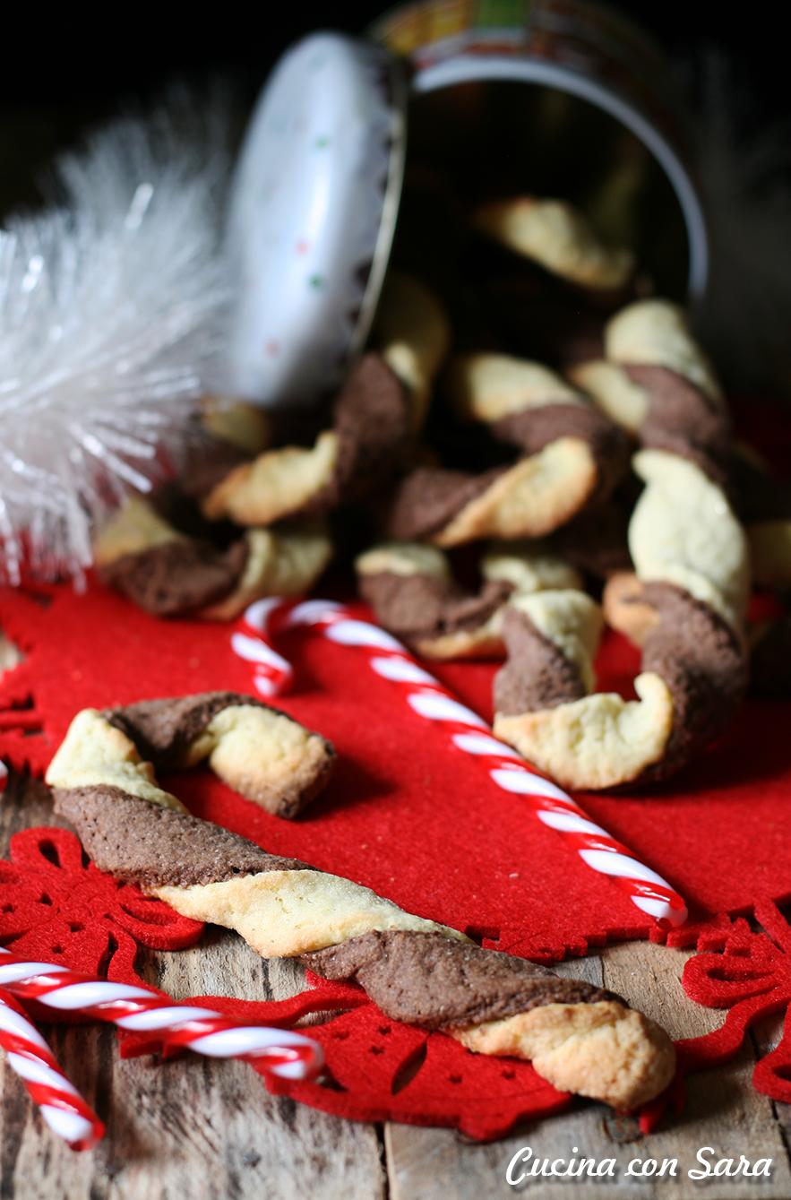 Candy cane di pasta frolla - ricetta natalizia, cucina con sara