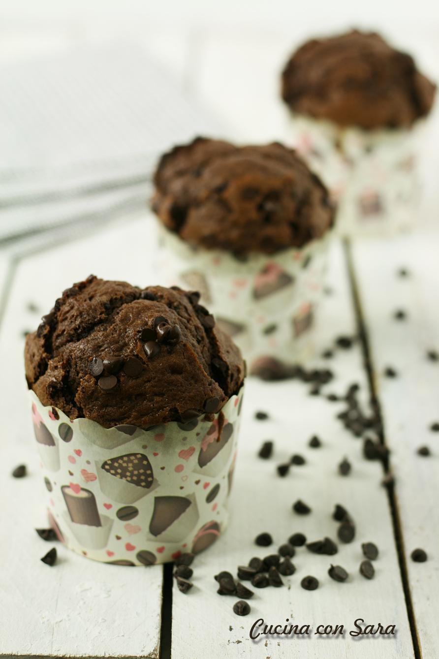 Muffin doppio cioccolato, cucina con sara