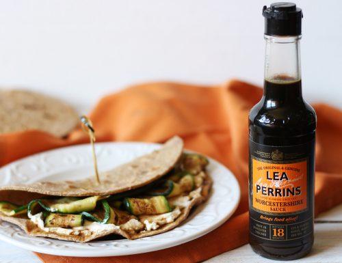 Piadina integrale con mousse di caprino, zucchine grigliate e salsa Worcestershire