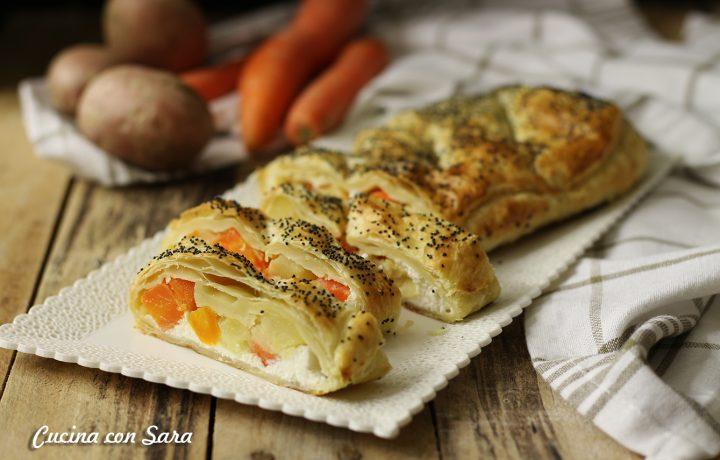 Rustico veloce di pasta sfoglia con verdure e formaggio