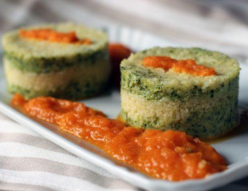 Tortino di broccoli e cous cous su crema di zucca