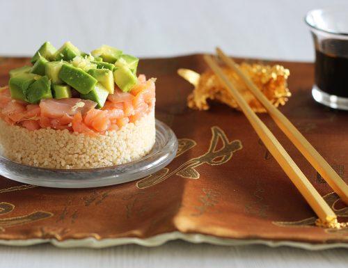 Tartare di salmone, avocado e cous cous