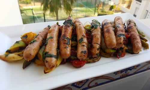 Salsicce corri corri con verdure miste