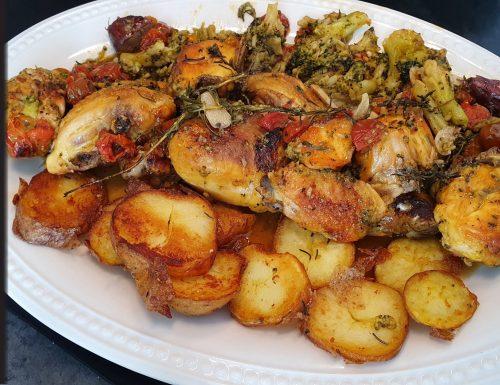 Pollo Ruspante al forno con patate saltate e vegetali