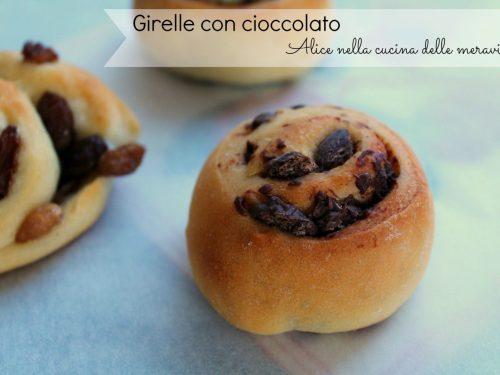 Girelle con cioccolato e con uvetta, ricetta lievitato dolce