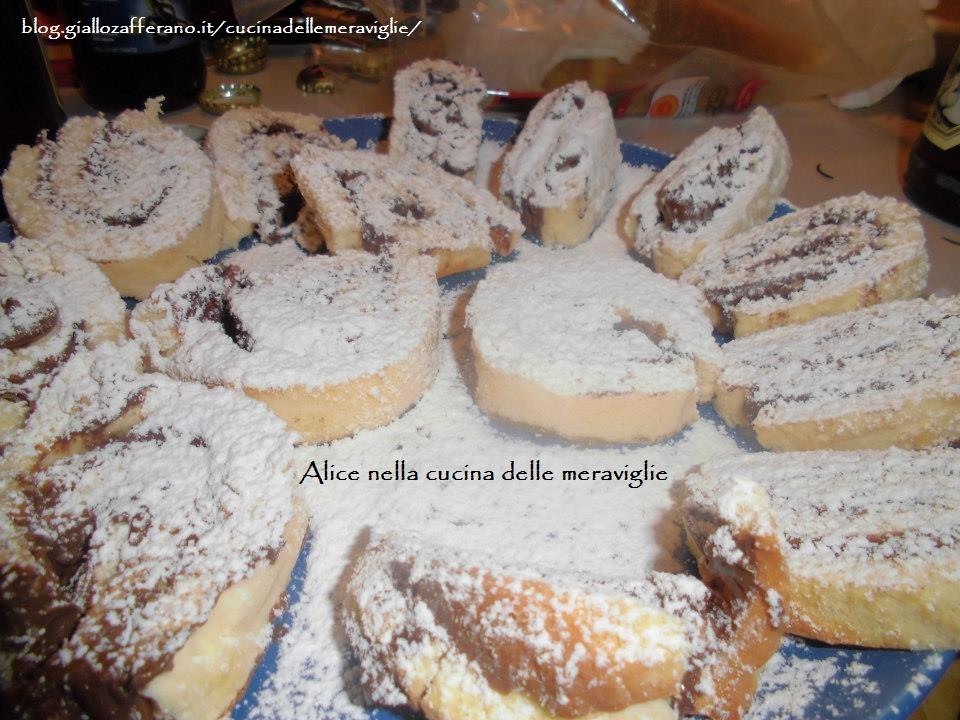 Rotolo di pan di spagna alla Nutella Alice nella cucina delle meraviglie