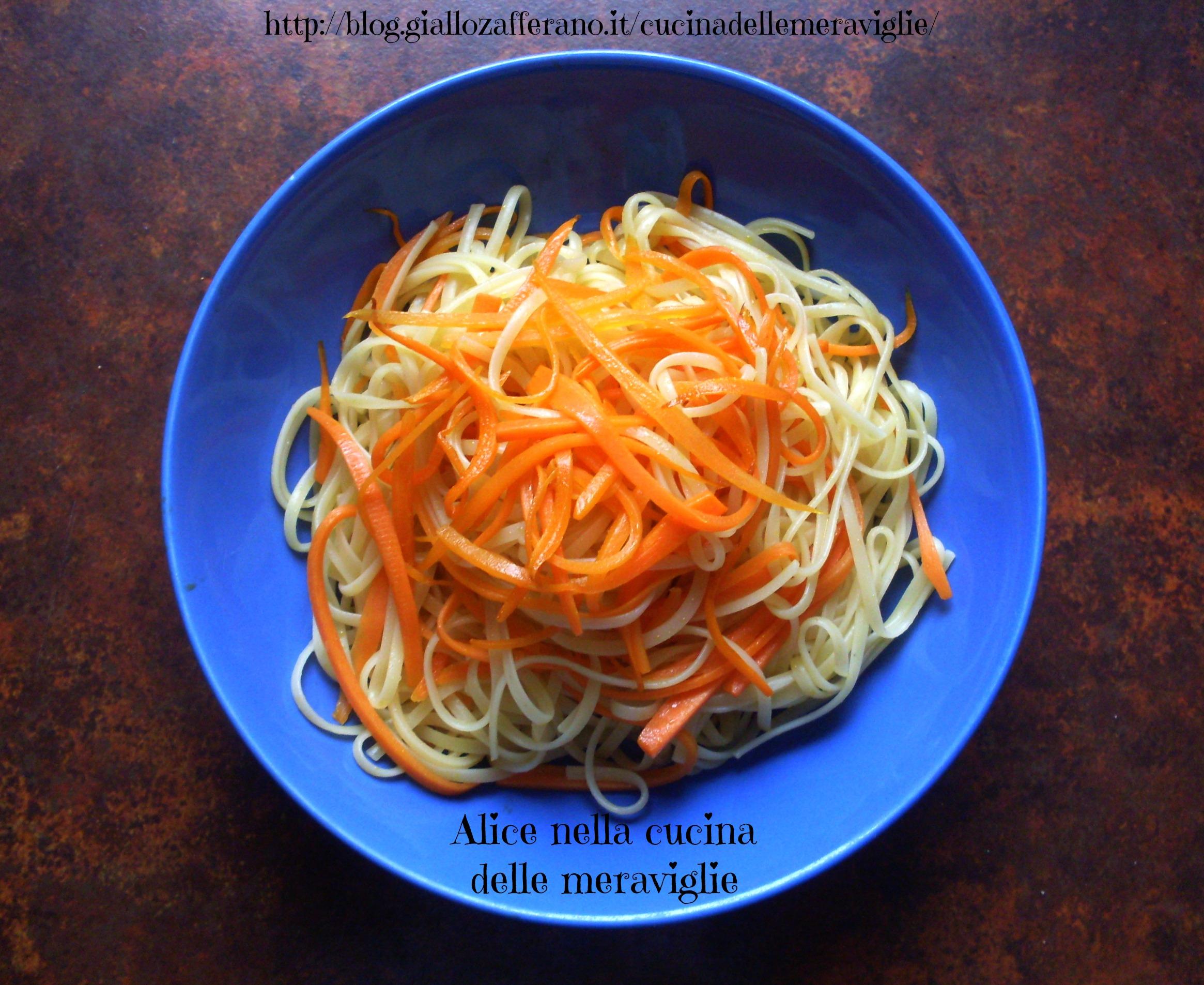 Linguine alle carote Ricetta primo piatto vegano Alice nella cucina delle meraviglie