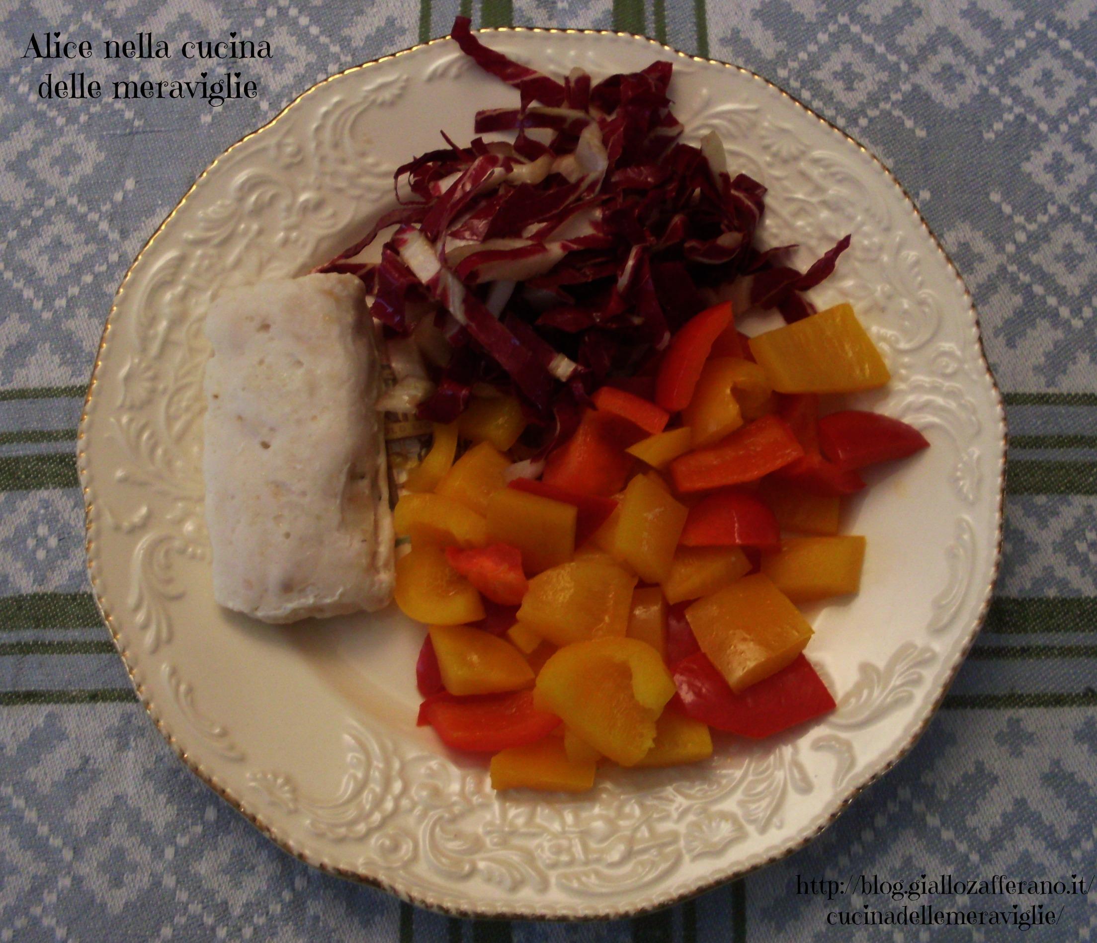 Cuori di nasello con peperoni e insalata Ricetta secondo piatto di pesce Alice nella cucina delle meraviglie