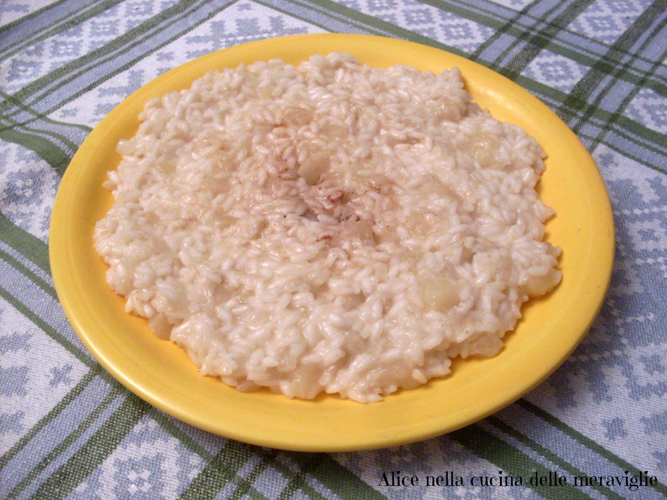 Risotto pere e cannella Ricetta primo piatto vegetariano Alice nella cucina delle meraviglie