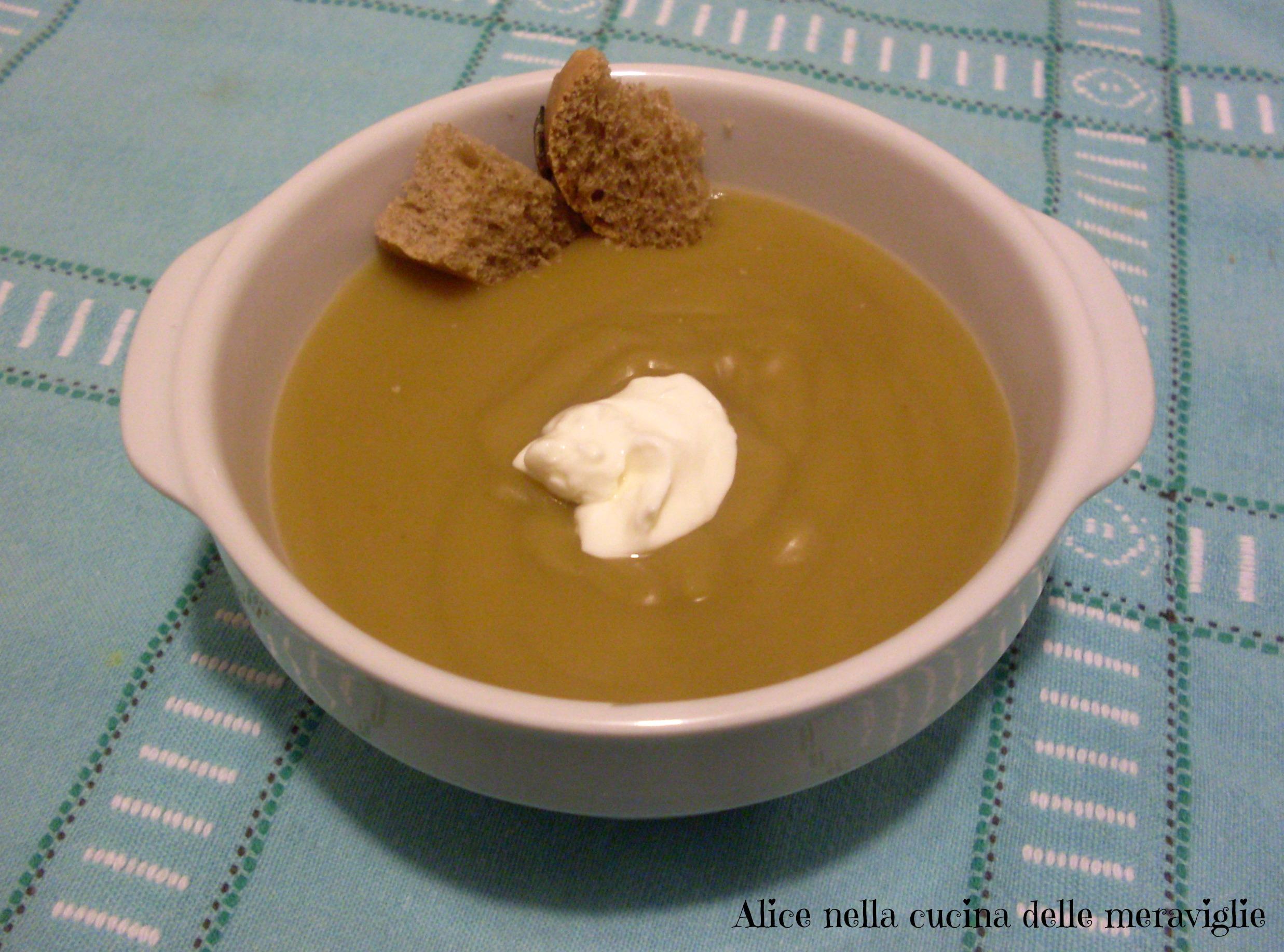 Vellutata di piselli Ricetta primo piatto vegano Alice nella cucina delle meraviglie