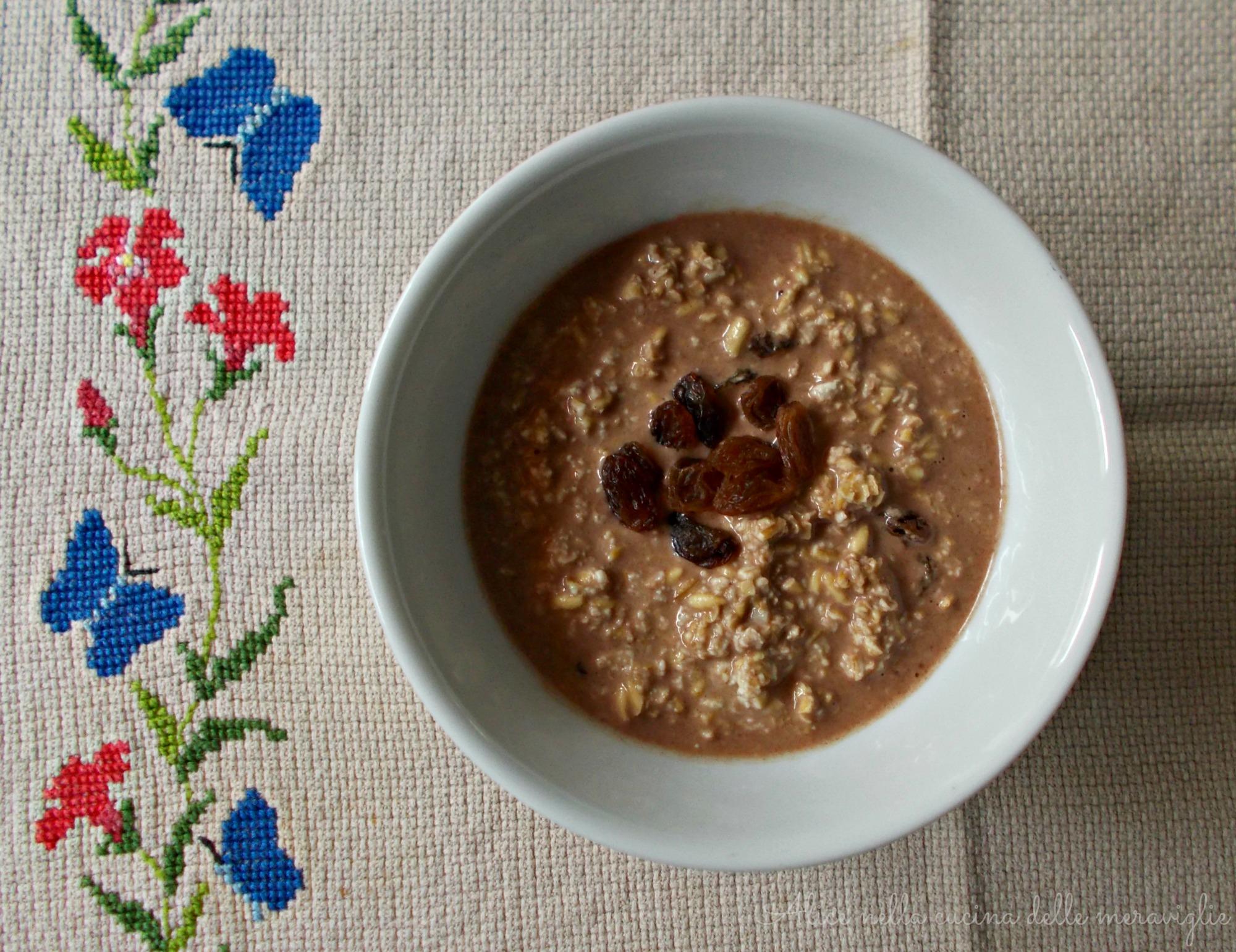 Avena con uvetta, latte e cacao Ricetta dolce Alice nella cucina delle meraviglie