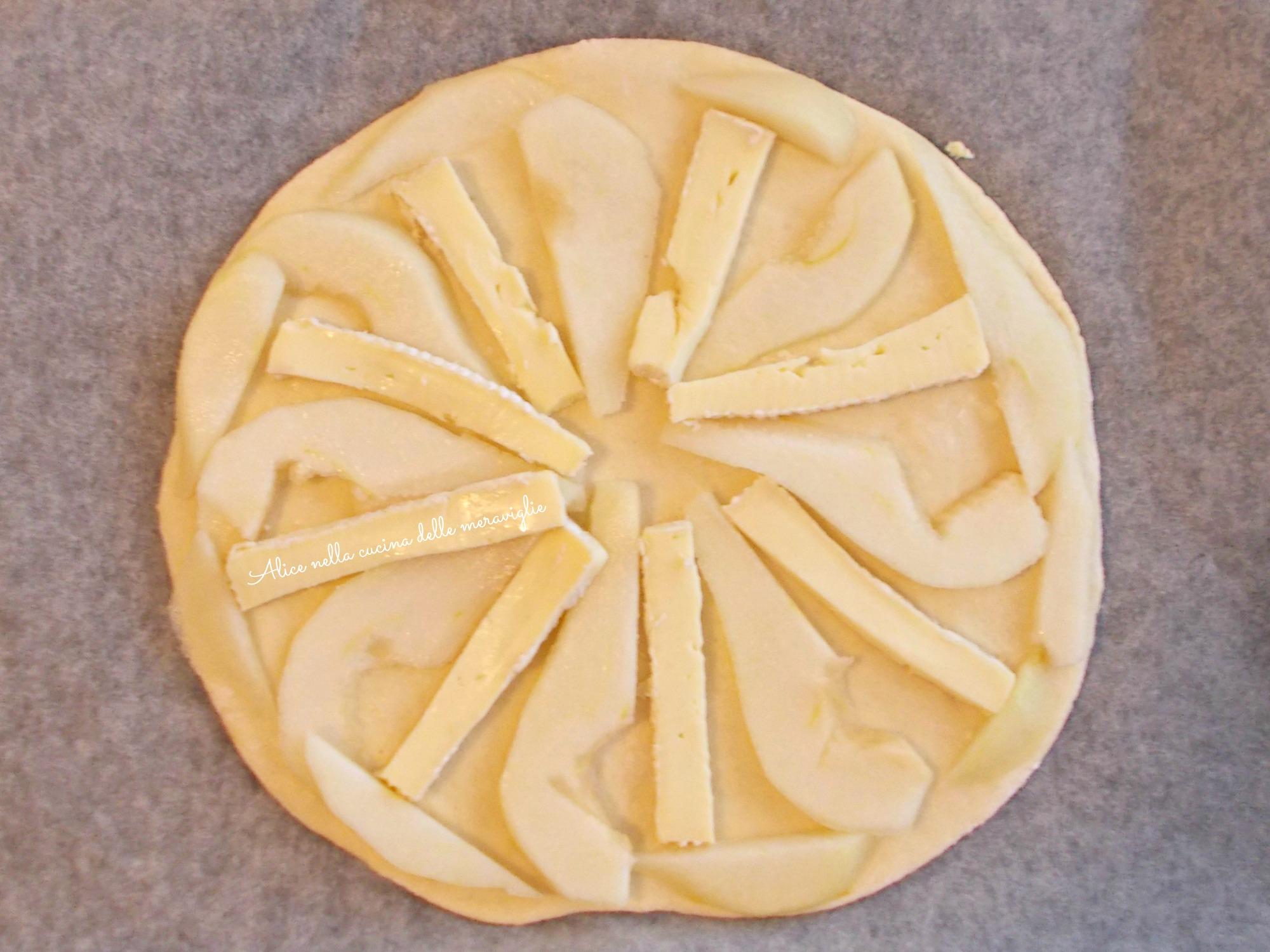 Pizza bianca pere e brie Ricetta lievitato salato Alice nella cucina delle meraviglie