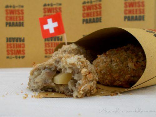 Polpette di melanzane con cuore di Gruyère, ricetta per Swiss Cheese Parade