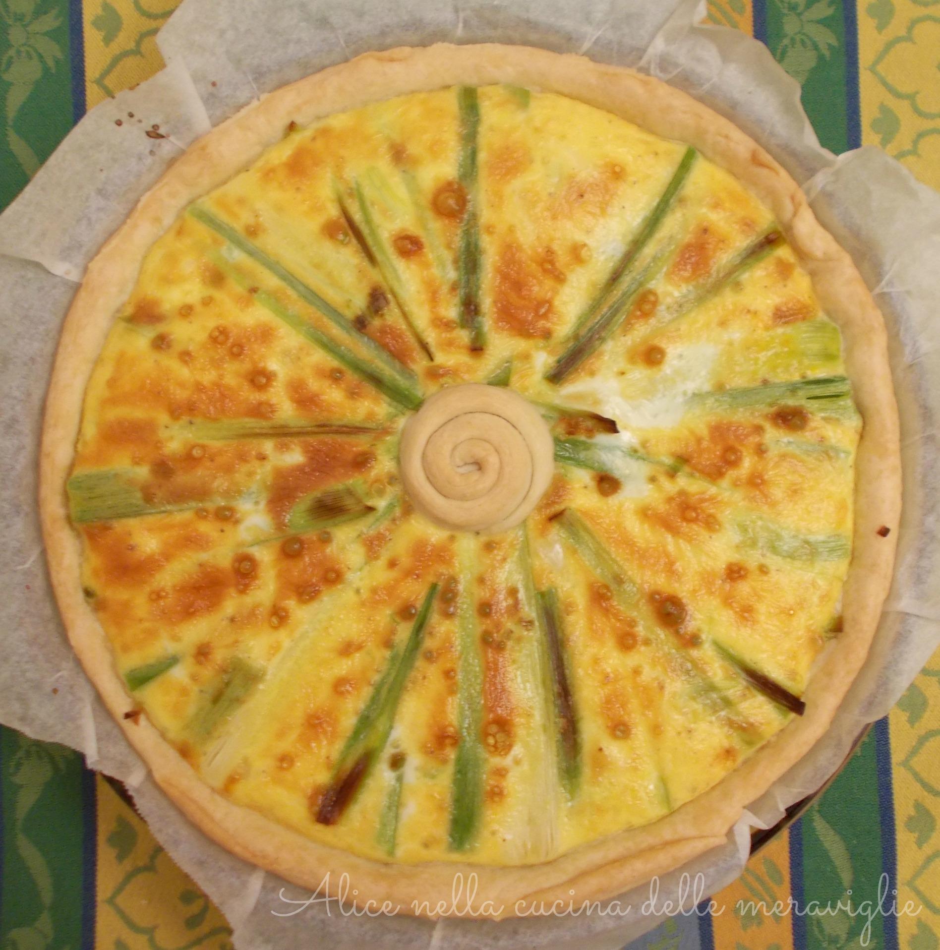 Torta salata ai porri Ricetta vegetariana Alice nella cucina delle meraviglie
