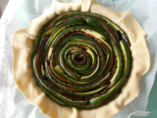 Torta salata con zucchine e melanzane grigliate, ricetta vegetariana