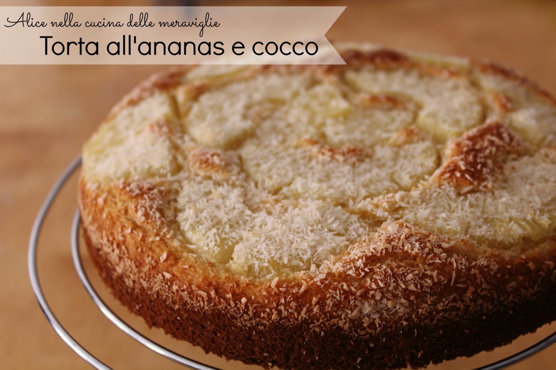 Torta all'ananas e cocco Ricetta dolce vegano Senza latticini senza uova e senza grassi aggiunti Alice nella cucina delle meraviglie