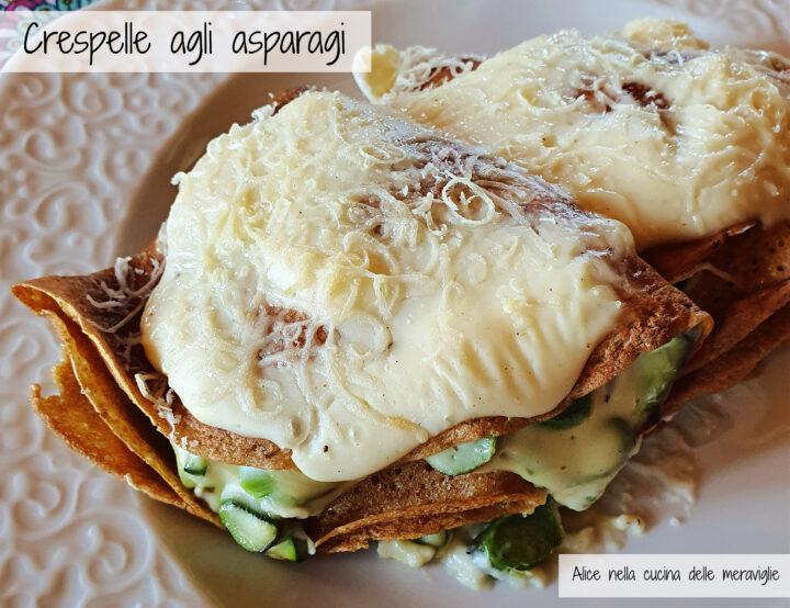 Crespelle agli asparagi Ricetta primo piatto vegetariano Alice nella cucina delle meraviglie