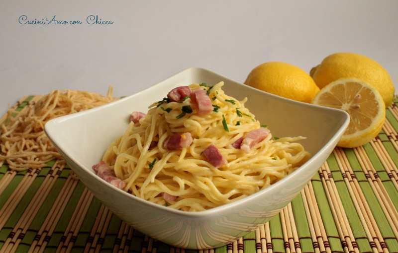Tagliolini al limone e pancetta  CuciniAmo con Chicca