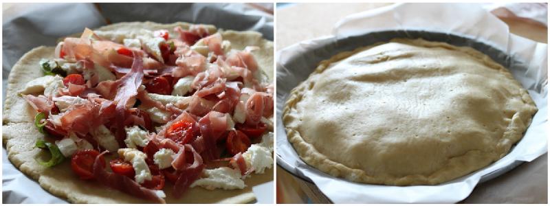 Collage pizza ripiena al prosciutto